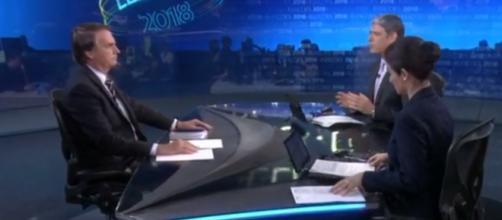 Bolsonaro durante a entrevista no Jornal Nacional