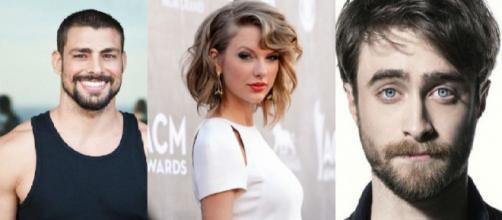 Cauã Reymond, Taylor Swift e Daniel Radcliff. (Foto/Reprodução via Google).