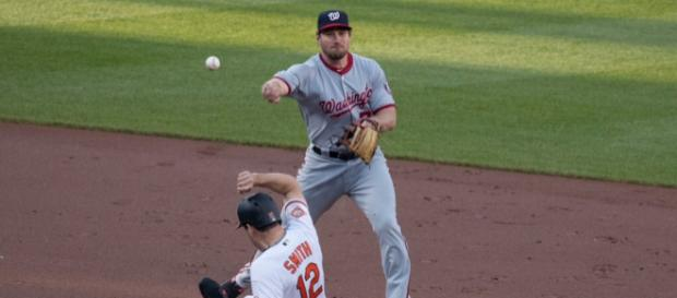 Daniel Murphy was picked up by the Cubs via trade in August. [Image Source: Keith Allison - Flickr]