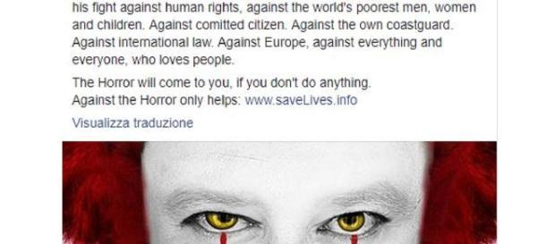 La campagna di Sea-Eye, 'Salvini the Horrorclown'