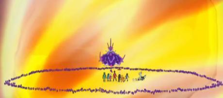 Lunala and Solgaleo clash in the next episode of Pokemon. [image source: Solgaleo-Dusk Mane Nexrozma/YouTube screenshot]