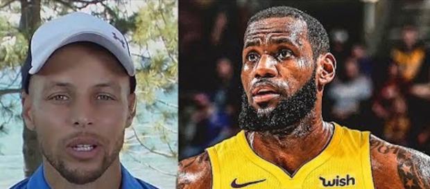 Stephen Curry came to NBA star LeBron James' defense after a critical Trump tweet. [Image via CliveNBAParody/YouTube]