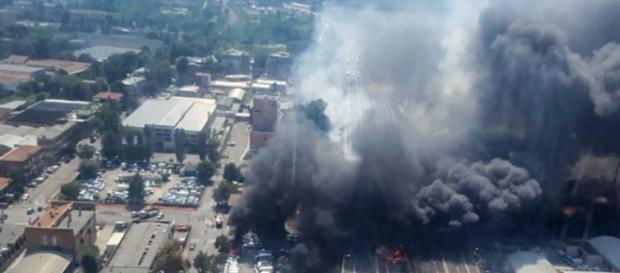 Immagine dall'alto dell'incidente (foto Vigili del Fuoco)