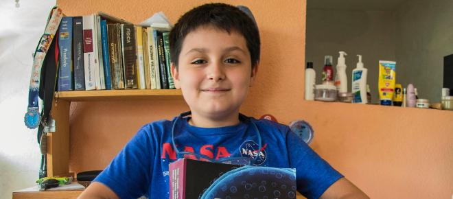 MEXICO/ Carlos Santamaria el niño universitario más joven de la UNAM