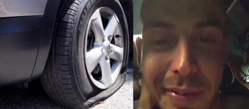 Gemitaiz ironizza sui vandali che hanno bucato le gomme dell'auto su cui viaggiava