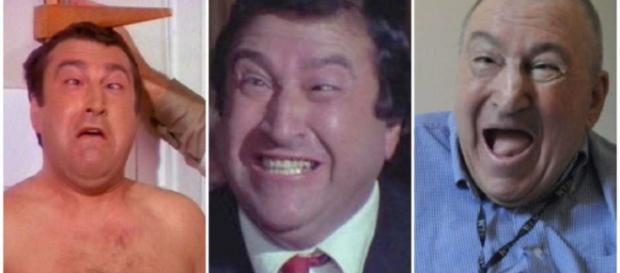 Tre immagini di Jimmy il fenomeno, dalle prime comparse sullo schermo agli ultimi anni a Milano.