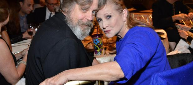 Mark Hamill y Carrie Fisher en un acto