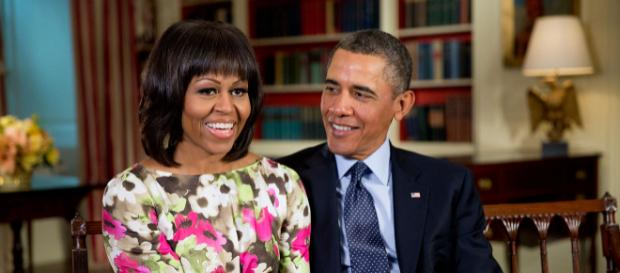 "Barack Obama and Michelle record a message for ABC ""Good Morning America."" [Image courtesy – Pete Souza, Wikimedia Commons]"