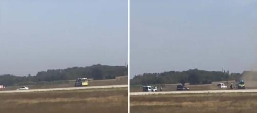 A car chase at Lyon airport in France caused flights to be delayed and cancelled. [Image Guardian News/YouTube]