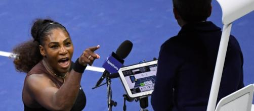 Serena Williams argued with umpire Carlos Ramos throughout the second set (Image via ESPN/Twitter)