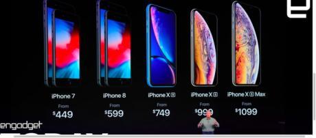 Photo of new iPhone lineup - [Engadget / YouTube screencap]