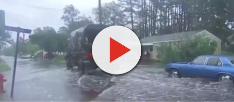 Hurricane Florence continues to pound the Carolina coast. [Image Credit – ABC News, YouTube video]