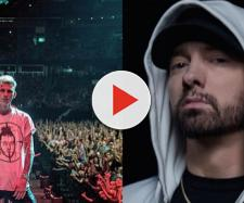 Mgk durante il su ultimo live ad Orlando, a destra Eminem