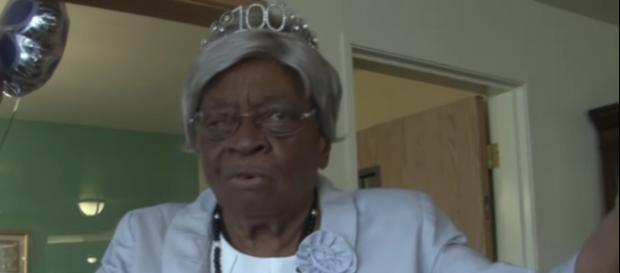 Miss Bertie celebrating her 100th birthday - Youtube/THV11