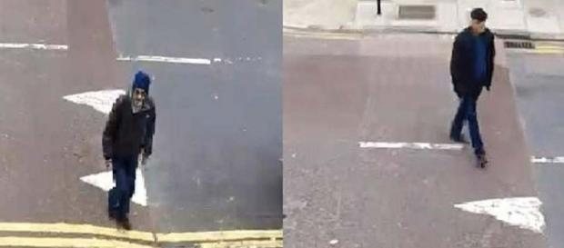 Police are seeking two men who robbed an elderly woman of items containing her husband's ashes. [Image London Metropolitan Police]