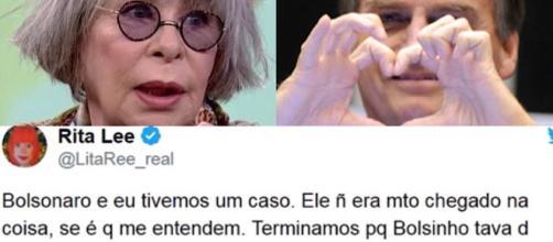 Tweet da cantora Rita Lee sobre Bolsonaro.