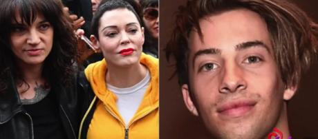 Asia Argento, depicted in black, is accused of sexual assault by Jimmy Bennet. [Image Source: lovelyti2002 - YouTube]