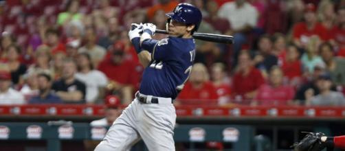 Christian Yelich bateó para el ciclo en la semana. - MLB.com.