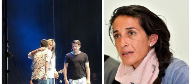 Diana Pinel en el escenario junto a Andy y Lucas