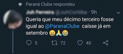 Torcedora não esperava resposta do perfil oficial do clube