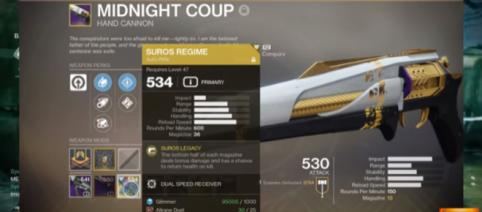 The Midnight Coup Legendary hand cannon [Image source: Pyro Gaming/YouTube]