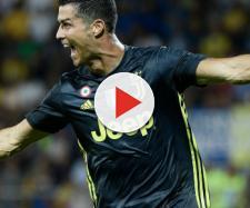 Serie A, Cristiano Ronaldo esultato dopo il gol contro il Frosinone