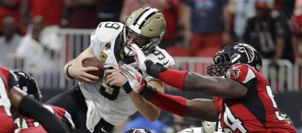 Drew Brees tuvo juego de 5 TD vs los Falcons. NFL.com.