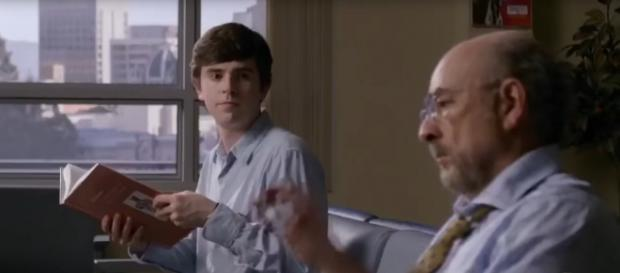 In Season 2's premiere of The Good Doctor, Dr. Murphy and Dr. Glassman play wastebasket basketball. [Image source: TV Guide-YouTube]