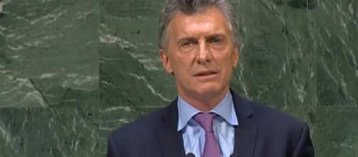 El presidente argentino Mauricio Macri expone en la ONU.