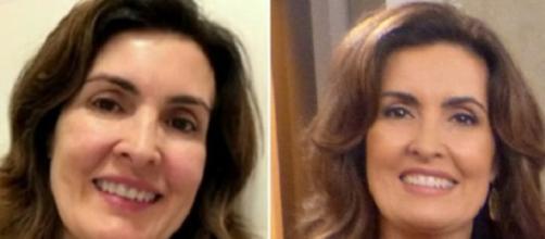 Fátima com e sem maquiagem: diferença perceptível.