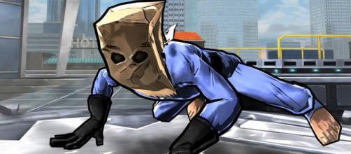 Peter Parker em seu uniforme de Bag-Man.