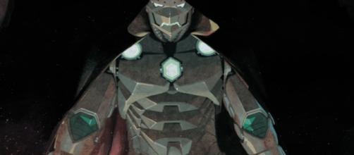 Victor Von Doom com o manto de Homem de Ferro.
