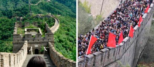 A grande muralha da China. Decepção a vista.