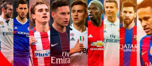 Ranking dos 5 jogadores mais bem pagos.