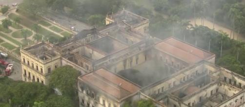 Museu Nacional após o incêndio. Imagens aéreas: Rede Globo
