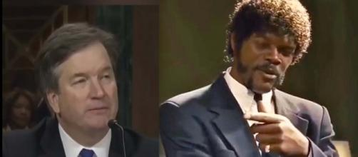 "Someone did a mash-up between Brett Cavanaugh's Senate hearing and ""Pulp Fiction."" [Image screen grabs from DJ DeePee TV/YouTube]"