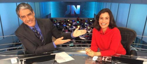 Renata Vasconcelos e William Bonner. (Imagem: Reprodução)