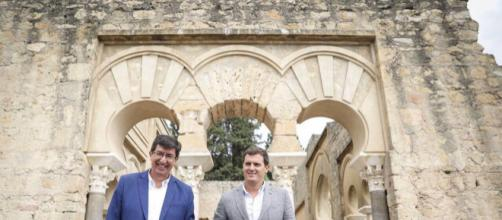 Juan Marín y Albert Rivera, este miércoles en Córdoba. / TWITTER