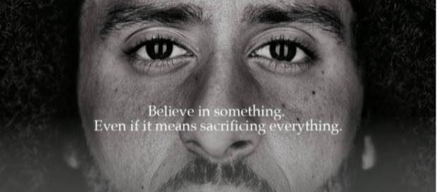 Photo of Nike siding with Colin Kaepernick. [Image Source: CBS This Morning - YouTube]