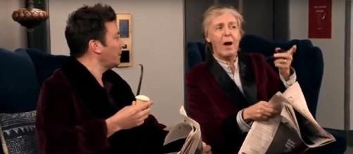 Paul McCartney joins Jimmy Fallon to surprise fans on the elevators on The Tonight Show. [Image source:The Tonight Show-YouTube]