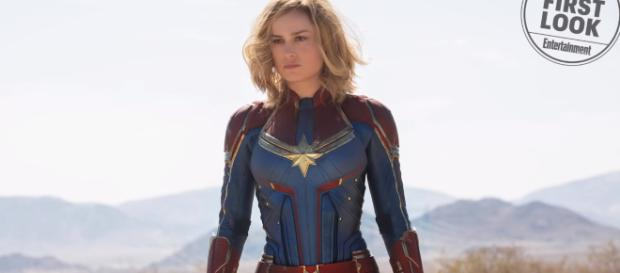 Entertainment Weekly released the first official image of Brie Larson as Captain Marvel [Image Credit: Emergency Awesome/YouTube]