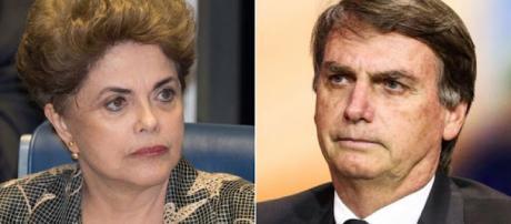 Dilma Rousseff e Jair Bolsonaro.