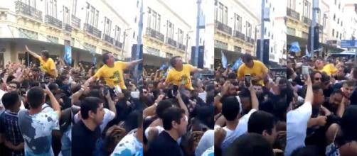 Con sus teléfonos celulares, seguidores del candidato Jair Bolsonaro captaron el momento de la cuchillada