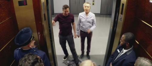 People in the lift screamed with excitement to see Jimmy Fallon and Paul McCartney. [Image The Tonight Show Starring Jimmy Fallon/YouTube]