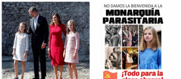 Los reyes y sus hijas en su llegada a Asturias