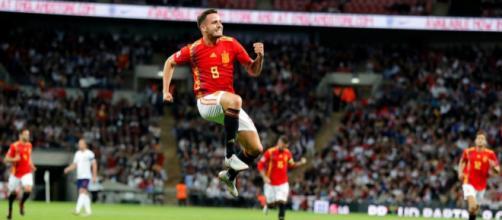 Inghilterra-Spagna 1-2: l'esultanza di Saul dopo il primo gol