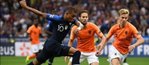 Kylian Mbappé, autore del primo gol in Francia-Olanda 2-1 di Nations League