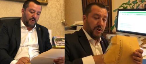 Le immagini della busta. La prima pubblicata da Luca Morisi, la seconda tratta dalla diretta Facebook.