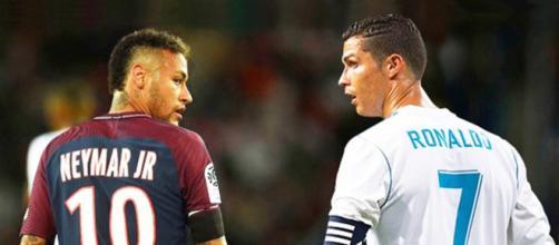 Neymar e Cristiano Ronaldo (Imagem via Youtube)