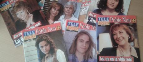 Algunas de las actrices y actores de 'Poblenou' en una revista televisiva de la época, como sus personajes y en la realidad.
